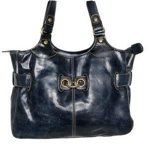 Peck & Peck dark Blue Leather Shoulder bag hand